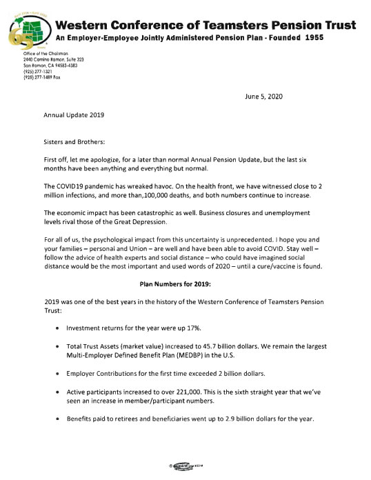 Image of Union Chairman Letter